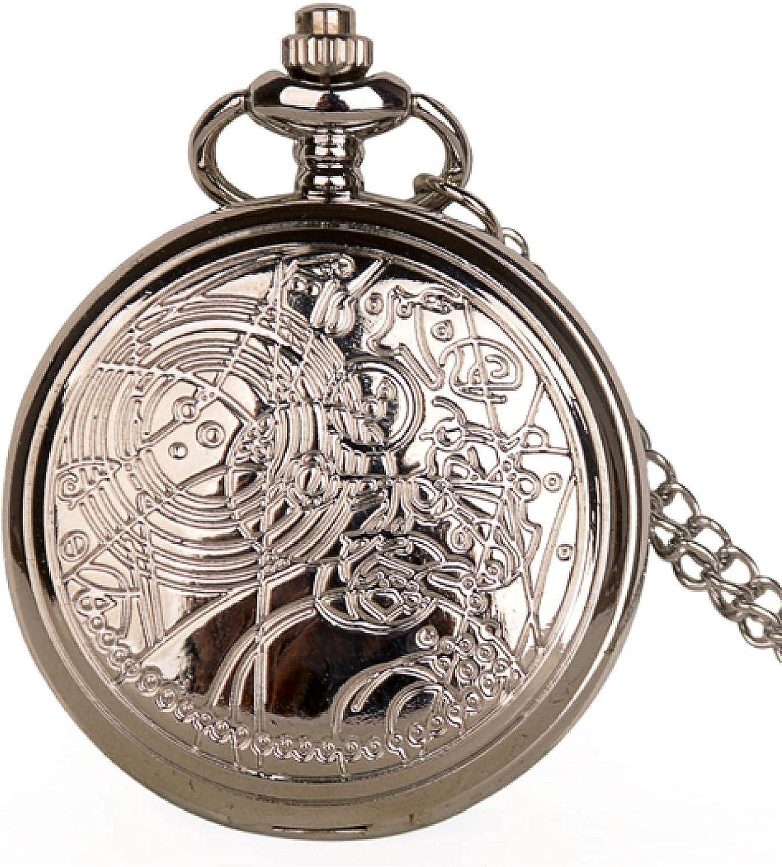 LLGBD Accessories/Reloj de Bolsillo Tema Antiguo Cuarzo de Bronce Reloj de Reloj Reloj de Reloj Mujeres Mujeres Fob Gifts Regalos (Color : Silver)