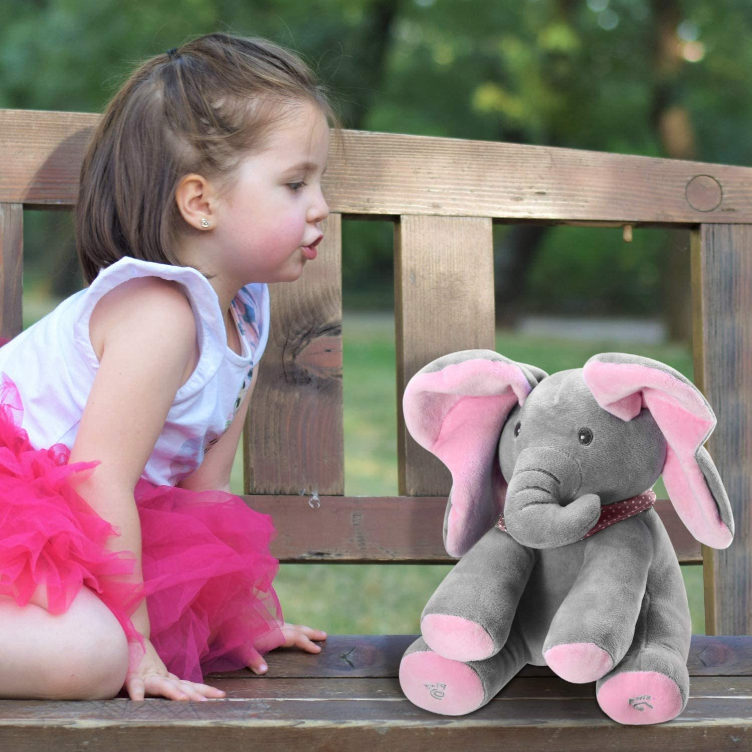 Moclever 12Inch Stuffed Plush Elephant Doll Peek-a-Boo Elephant Animated Talking Singing Cute Elephant Baby Doll Toy for Toddlers Kids Boys Girls Gift Pink
