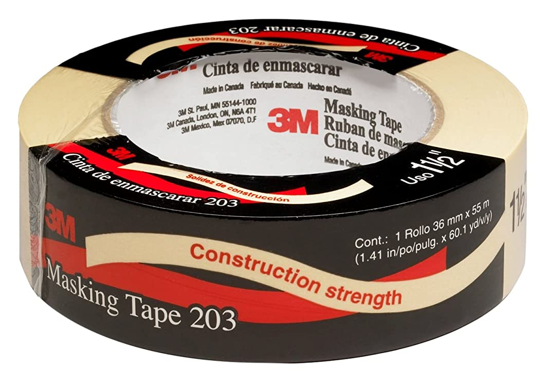 3M 58037-case General Purpose Masking Tape 203 Beige, 36 mm x 55 m, 4.7 mil (Pack of 24)