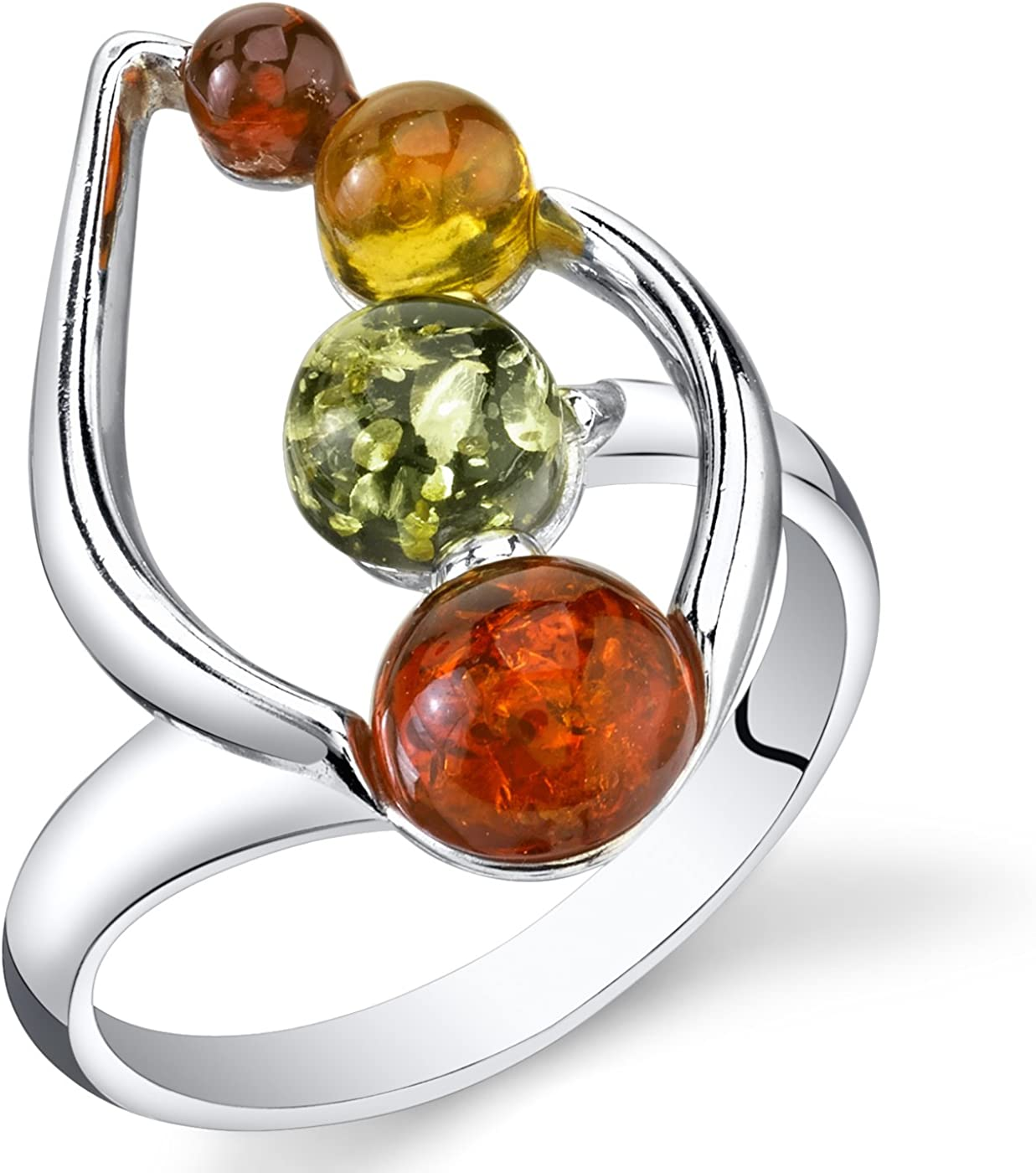Baltic Amber Open Leaf Ring Size Silver San Antonio Mall Colors Multiple Manufacturer direct delivery Sterling