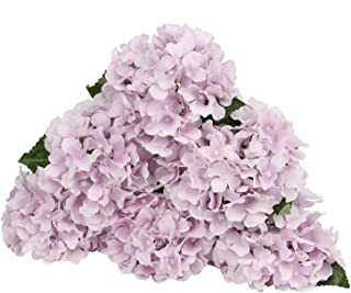 LuLuHouse Silk Hydrangea Heads with Stems Bulk Artificial Flower Heads Decorative Swags for Wedding Home Decor (Vintage Purple, 10)