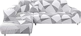MIFXIN L Shape Sofa Cover 2 Pcs Stretch Slipcovers for Sectional Couch L-Shaped Sofa Furniture Protector Covers for Kids Pets with 2Pcs Pillow Covers (White+Gray)