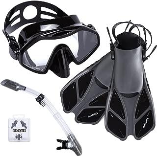 ELEMENTEX Dry Snorkel Set with Scuba Mask, Fins n Top Valve