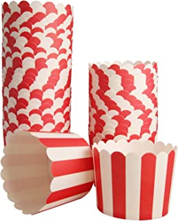 50-Pack Muffin Cups Baking Paper Cup Cupcake Muffins Liners Red and White Stripes Baking Cups, Bottom Dia 2.3 Inch