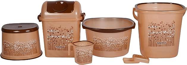 Nayasa Funk 6 Piece Plastic Bucket Set, Brown