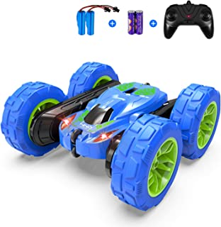 RC Cars Stunt Car Toy, SHARKOOL 4WD 2.4Ghz Remote Control Car Double Sided Rotating Vehicles 360° Flips, Kids Toy Cars for Boys & Girls Birthday (Blue)