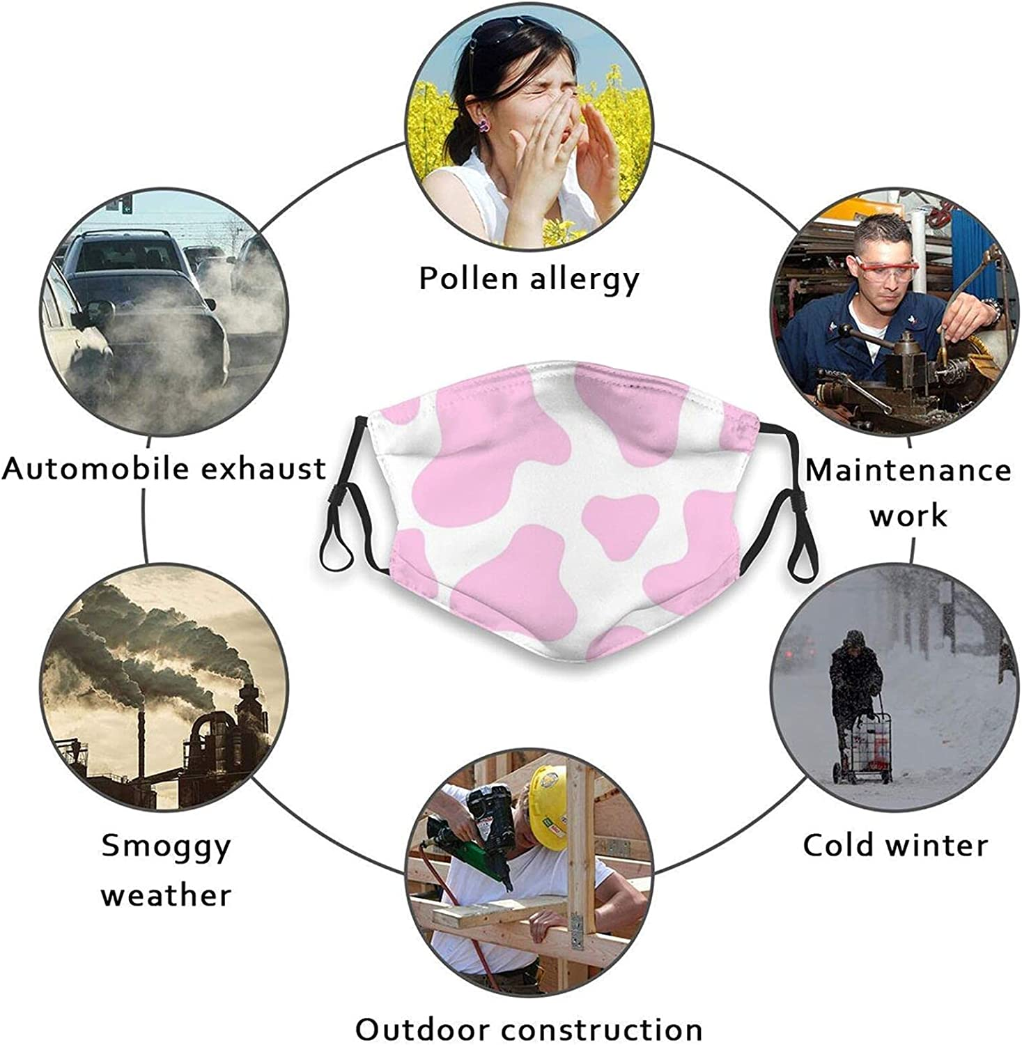 Cow Print Cute Printing Face Mask, Reusable With 2 Filters Gift For Men And Women Balaclava Bandana