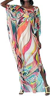 Bestyou Women's Print Turkish Kaftans Chiffon Caftan Loungewear Beachwear Bikini Swimsuit Cover Up Dress