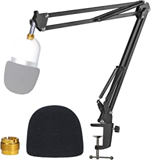 YOUSHARES Microphone Boom Arm with Pop Filter - Mic Stand with Foam Cover Windscreen Compatible with Razer Seiren Mini Str...