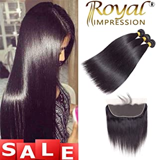 10A Brazilian Virgin Straight Hair 3 Bundles with Frontal (14 16 18+12) Straight Human Hair Bundles with Frontal 13x4 Ear To Ear Lace Frontal Unprocessed Remy Hair Bundles with Frontal Natural Color