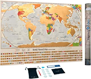 Inspired Maps - Scratch Off World Map Poster with 232 World Flags 34 x 24 inches U.S. States and Canadian Provinces Outlined Designed and Printed in The USA