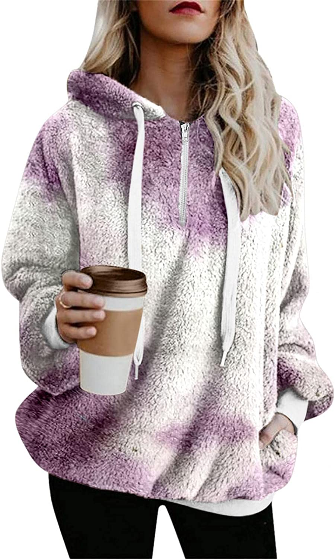 HCNTES Hoodies for Women Fashion Tie Dye Graphic Warm Winter Pocket Plus Size Zipper Long Sleeve Coat Sweatshirts