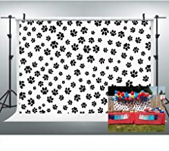 Puppy Paw Print Backdrop for Photography, 9x6FT, Paw Patrol Themed Party Background, Cake Table Banner Photo Booth Props LYLU170