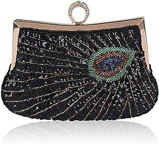 ZYWYB Women's Vintage Beaded Sequined Evening Bag Wedding Party Handbag Clutch Purse (Color : Black)