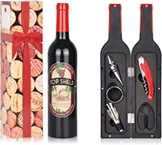 Wine Accessories Gift Set - 5 Pcs Deluxe Wine Corkscrew Opener Sets Bottle Shape in Elegant Gift Box, Great Wine Gifts Idea for Wine Lovers, Friends, Christmas, Anniversary