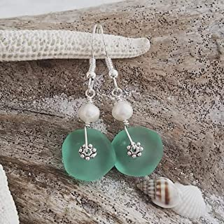 """product image for Handmade in Hawaii, Aqua""""March Birthstone"""" sea glass earrings, Freshwater pearl, (Hawaii Gift Wrapped, Customizable Gift Message)"""