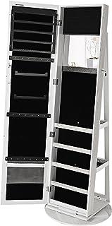 SONGMICS Espejo joyero Giratorio a 360º Armario de pie Organizador de joyerías 5 Compartimentos JBC62W