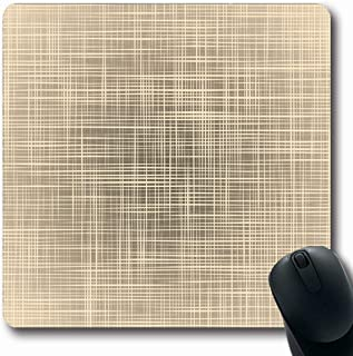Ahawoso Mousepads Crochet Brown Craft Natural Beige Canvas Abstract Flax Dirty Effect Graphic Design Pattern Oblong Shape 7.9 x 9.5 Inches Non-Slip Gaming Mouse Pad Rubber Oblong Mat