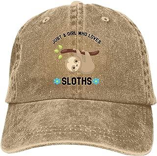 LeoCap Just A Girl Who Loves Sloths - Funny Sloth Baseball Cap Unisex Washed Cotton Denim Hat Adjustable Caps Cowboy Hats