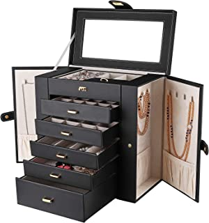 Duomiila Women Jewelry Box Large Leather Jewelry Organizer Makeup Jewellery Storage Case 5 Drawers Jewelry Storage with Mirror for Necklaces Earrings Rings Bracelets Lipstick (Black)