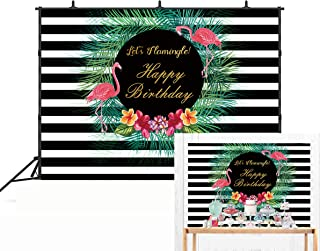 Botong 7x5FT Let's Flamingle Party Backdrop Black and White Stripes Pineapple Hawaiian Tropical Birthday Photography Background Bridal Baby Shower Kids Photo Studio Booth Props sum001-7x5FT