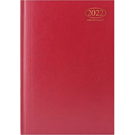 1 Above_2022 A4 Week to View Diary Appointment | WTV A4 Planner | Hardback Cover | Casebound Black (Red)