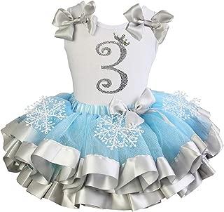 Girls Blue Silver Snowflake Satin Tutu Princess 3rd Birthday Outfit