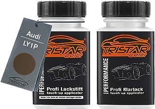 TRISTARcolor Autolack Lackstift Set für Audi LY1P Dakotagrau Metallic Basislack Klarlack je 50ml