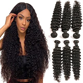 Brazilian Curly Human Hair 22 24 26 Inch Deep Wave 3 Bundles of Human Hair Weave Natural Brown for Cheap Prime