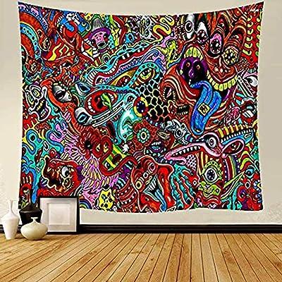 YANGDD Tapiz de pared colorido con aspecto psicodélico, tapiz hippie para colgar en la pared, tapiz árabe, diseño retro étnico, abstracto, decoración de dormitorio, 150 x 200 cm