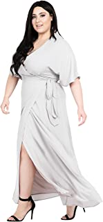 Standards & Practices Plus Size Modern Women's Light Grey Kimono Wrap Maxi Dress