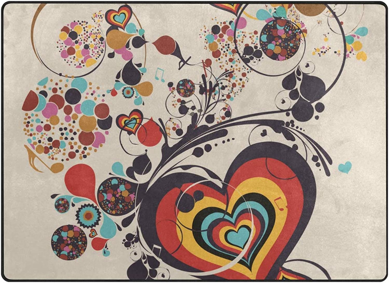 MALPLENA Heart Flower Music Painting Area Rug Doormat Carpet Entry Way Door Mat Floor Mats shoes Scraper for Living Room Dining Room Bedroom Kitchen Non Slip