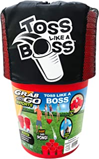 Banzai BAN-30422 Toss Like A Boss Outdoor Giant Oversized Pong Party Tailgate Lawn Game w/ 12 Buckets, 2 Balls, and Easy C...