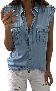 Petalum Womens Casual Sleeveless Denim Jean Cropped Vest Shirt V-Neck Top