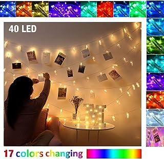 Guirnaldas Luces Pinzas para Fotos Cuerda Colgar Fotos Polaroid Adornos Navidad Luces Navidad Cadena de Luces Decorativas Habitacion Pared Decoracion Boda Cumpleaños (40 Led)