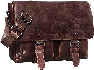 """STILORD """"Hunter"""" Leder Aktentasche 13 Zoll Laptoptasche Vintage Umhängetasche für Herren Damen Businesstasche aus Echtem Leder"""