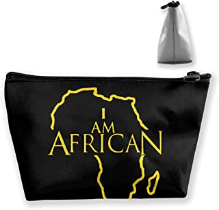 Hand Jinl African Map Portable Trapezoidal Storage Pouch Cosmetic Bag Travel Pouches