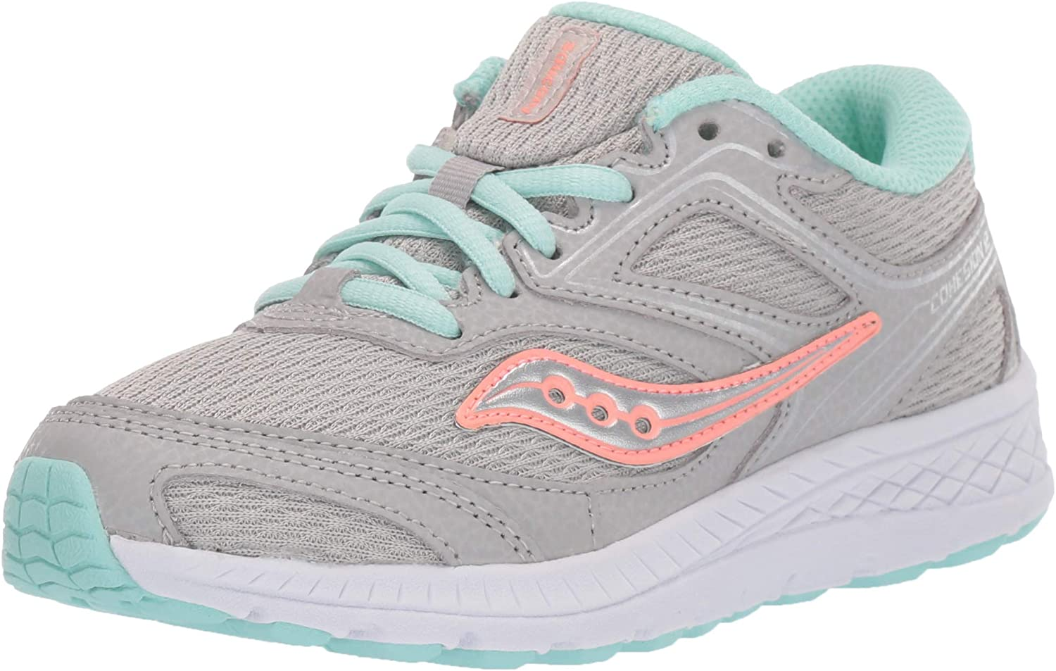Saucony Girl's Cohesion 12 LTT Sneaker, Grey/Turquoise, 10.5 W US Big Kid