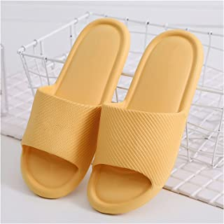 FENCHUN Men Summer Home Slippers Simple Black Navy Shoes Non-Slip Bathroom Slides Flip Flops Couples Indoor Male Platform ...