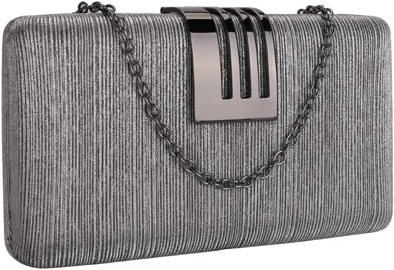JIYINGDUO Women Evening Envelope Handbag Party Bridal Clutch Purse Shoulder Cross Body Bag (Black)