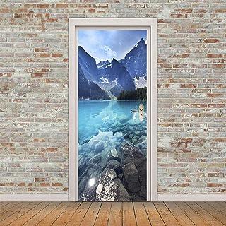 Décoration De La Maison Autocollants De Porte 3D Mountain Lake Stickers Muraux Décoration Auto-Adhésive