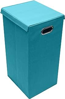 Sorbus Laundry Hamper Basket Sorter with Lid Closure - Foldable Hamper Bin, Detachable and Removable Lid, Portable Built-in Handles for Easy Transport (Aqua)