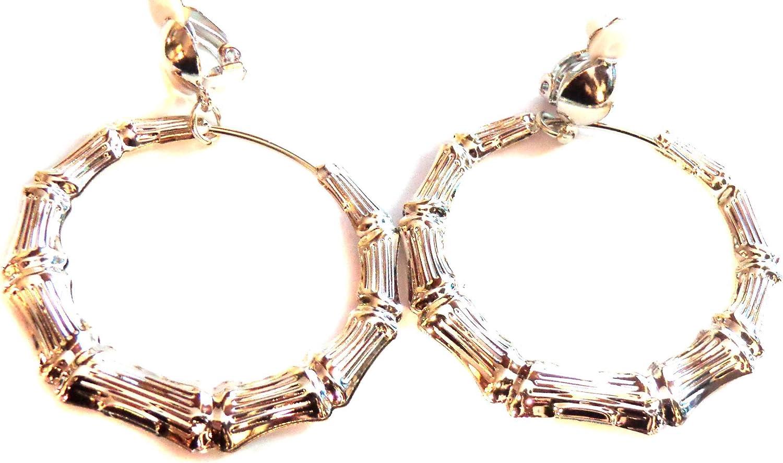 Clip-on Earrings Bamboo Rose Gold Tone Hoop Earrings Large 3 inch