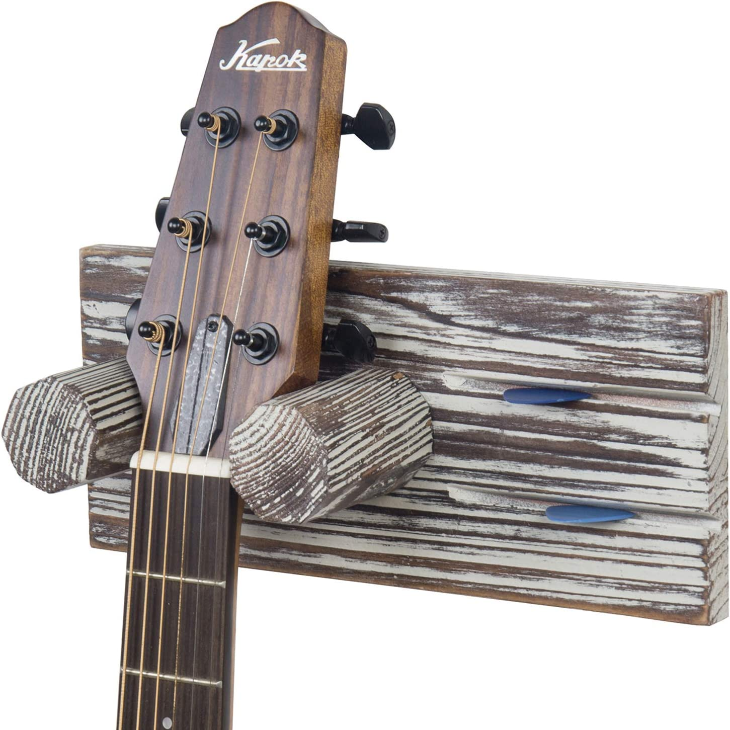 MyGift Wall Mounted Single Guitar Hanger Rack with Torched Wood Mount and Pick Holder