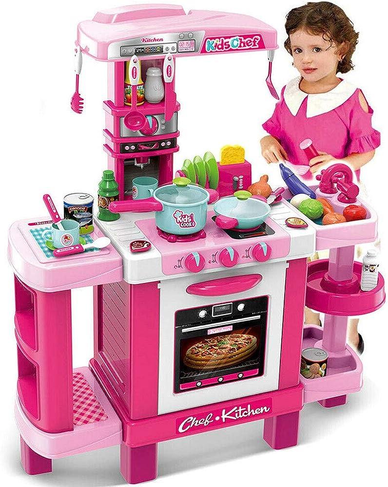 Bakaji cucina giocattolo bambini con fornello funzionante luci suoni forno e 34 accessori