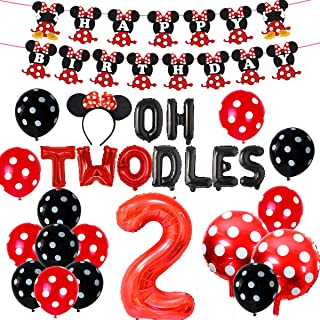 2nd Birthday Decoration Set Themed of Minnie Mouse Red and Black, Oh Twodles Happy Birthday Banner Ear Headband Second Bir...