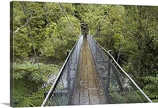 GREATBIGCANVAS Gallery-Wrapped Canvas Entitled Footbridge, Hokitika River, Hokitika Gorge, West Coast, South Island, New Zealand by David Wall 36