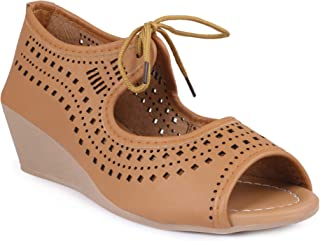 perfect step Women's Peep Toes Comfprtable Casual Lace up Sandal - Tan