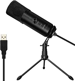 USB Microphone, Recording Microphone Plug &Play Metal Studio Microphone for PC/Laptop/Desktop/Notebook, Cardioid Studio Recording Vocals for YouTube, Voice Search, Games