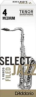 Cañas para saxo tenor Rico Select Jazz, corte francés, resistencia 4/media, paquete de 5